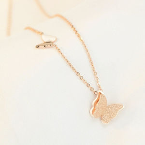 Butterfly Pendant Rose Gold Tone Fashion Necklace